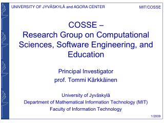 COSSE – Research Group on Computational Sciences, Software Engineering, and Education