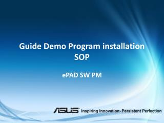 Guide Demo Program installation SOP