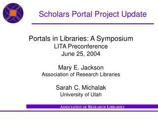 Scholars Portal Project Update