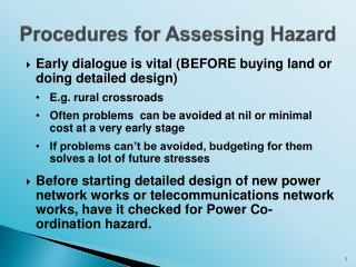 Procedures for Assessing Hazard