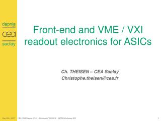 Front-end and VME / VXI readout electronics for ASICs