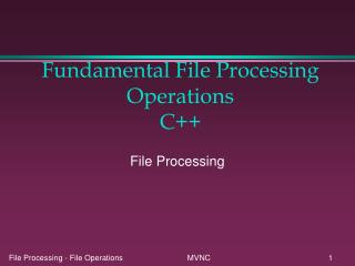 Fundamental File Processing Operations C++