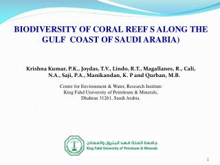 BIODIVERSITY OF CORAL REEF S ALONG THE GULF  COAST OF SAUDI ARABIA)