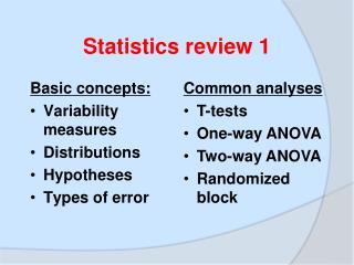 Statistics review 1
