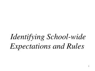 Identifying School-wide Expectations and Rules