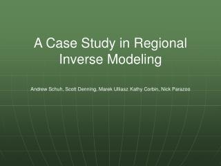 A Case Study in Regional Inverse Modeling