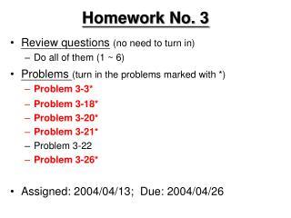 Homework No. 3