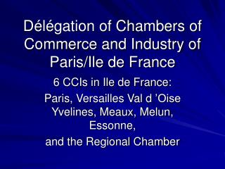 D�l�gation of Chambers of Commerce and Industry of Paris/Ile de France