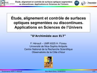 F. Hénault – UMR 6525 H. Fizeau Université de Nice-Sophia Antipolis