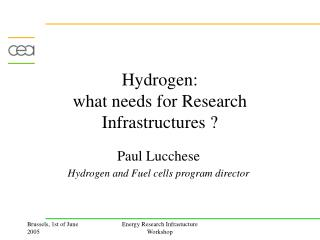 Hydrogen:  what needs for Research Infrastructures ?
