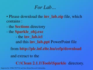 For Lab…