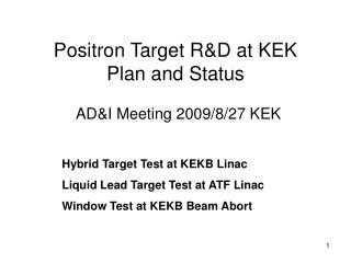 Positron Target RD at KEK Plan and Status