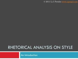 Rhetorical analysis oN style