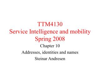 TTM4130  Service Intelligence and mobility Spring 2008