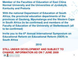 University of Pretoria, University of Jyvaskyla, University of