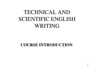 TECHNICAL AND SCIENTIFIC ENGLISH WRITING