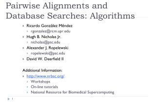 Pairwise Alignments and Database Searches: Algorithms