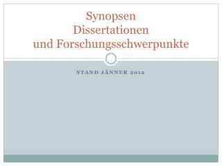 Synopsen  Dissertationen und Forschungsschwerpunkte