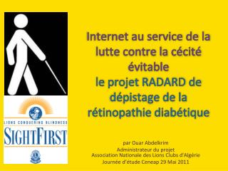 par Ouar Abdelkrim  Administrateur du projet Association  Nationale des Lions Clubs  d'Algérie