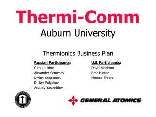 Thermi-Comm Auburn University Thermionics Business Plan