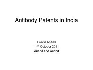 Antibody Patents in India