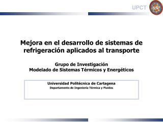 Universidad Politécnica de Cartagena Departamento de Ingeniería Térmica y Fluidos