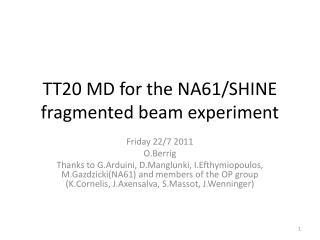 TT20 MD for the NA61/SHINE fragmented beam experiment