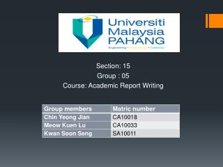 Section: 15 Group : 05 Course: Academic Report Writing