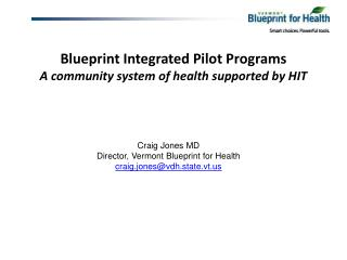 Blueprint Integrated Pilot Programs A community system of health supported by HIT