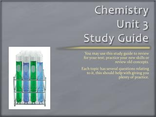 Chemistry Unit 3  Study Guide