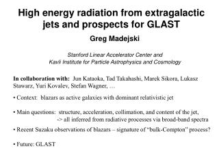 High energy radiation from extragalactic jets and prospects for GLAST