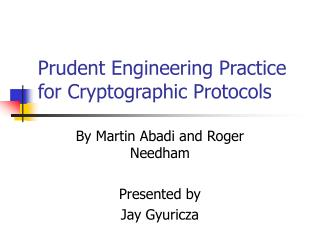 Prudent Engineering Practice for Cryptographic Protocols