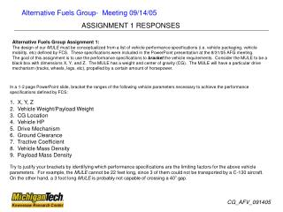 Alternative Fuels Group Assignment 1: