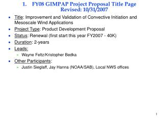 FY08 GIMPAP Project Proposal Title Page Revised: 10/31/2007