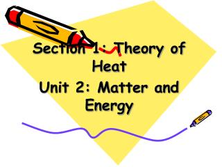 Section 1: Theory of Heat Unit 2: Matter and Energy