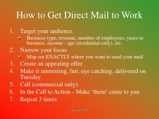 How to Get Direct Mail to Work
