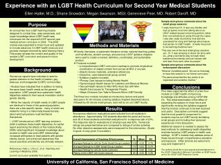 Experience with an LGBT Health Curriculum for Second Year Medical Students