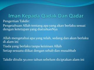 Iman Kepada Qadak  Dan  Qadar