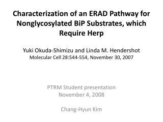 PTRM Student presentation November 4, 2008 Chang-Hyun Kim