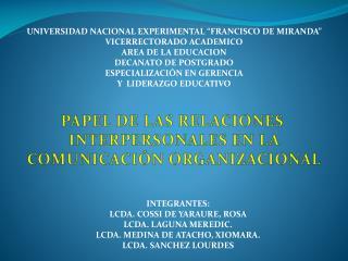 """UNIVERSIDAD NACIONAL EXPERIMENTAL """"FRANCISCO DE MIRANDA"""" VICERRECTORADO ACADEMICO"""