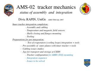 AMS-02  tracker mechanics status of assembly  and  integration
