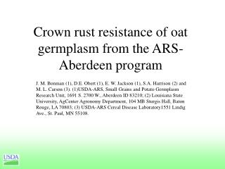Crown rust resistance of oat germplasm from the ARS-Aberdeen program