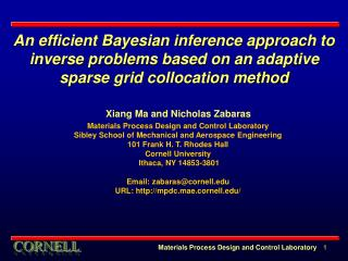 An efficient Bayesian inference approach to inverse problems based on an adaptive sparse grid collocation method