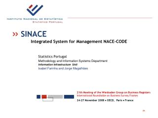 Statistics Portugal Methodology and Information Systems Department Information Infrastructure Unit
