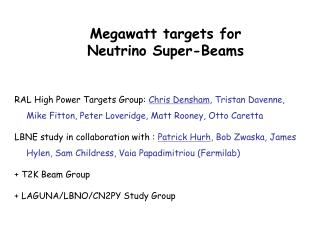 Megawatt targets for  Neutrino Super-Beams