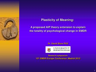Dr. David Blore PhD Research symposium:  13 th  EMDR Europe Conference: Madrid 2012