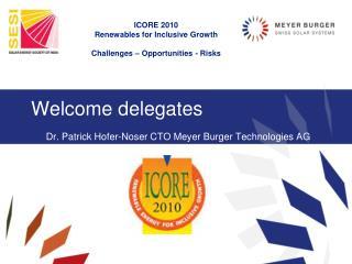 Welcome delegates