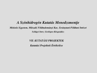 VII. KUTATÁSI PROJEKTEK Kutatási Projektek Értékelése