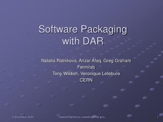 Software Packaging  with DAR