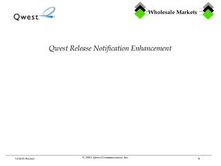 Qwest Release Notification Enhancement